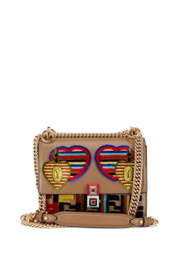 Fendi Kan I Dark Taupe Jacquard Liberty Small Bag