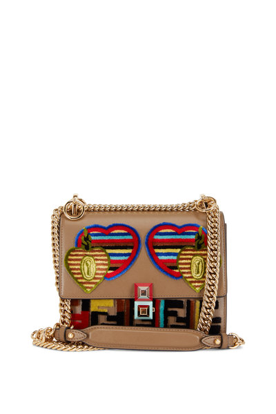 Fendi - Kan I Dark Taupe Jacquard Liberty Small Bag