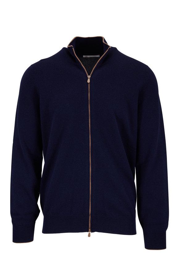 Brunello Cucinelli Navy Cashmere Front Zip Cardigan