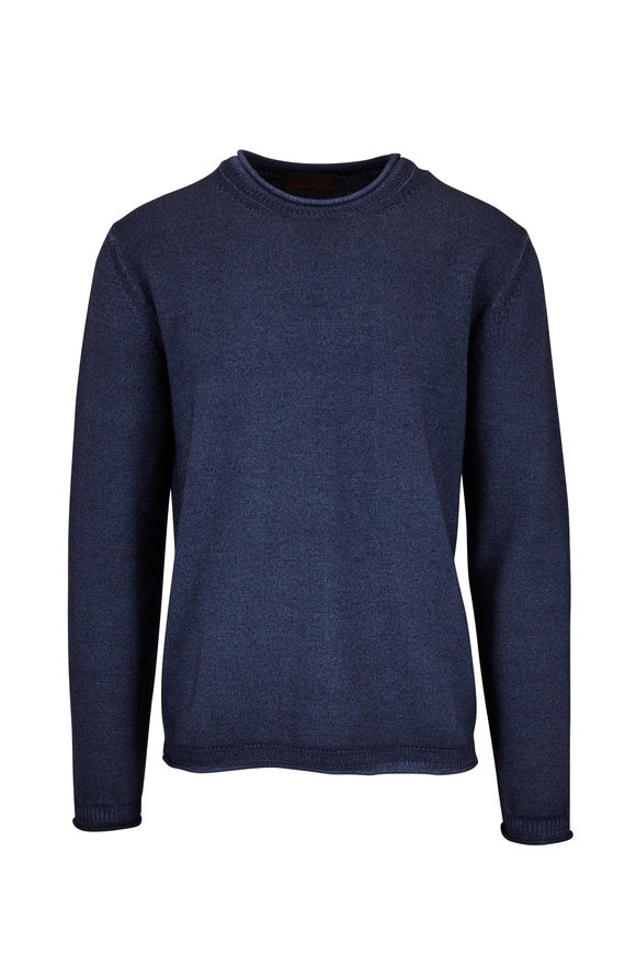 Altea Navy Wool Crewneck Sweater