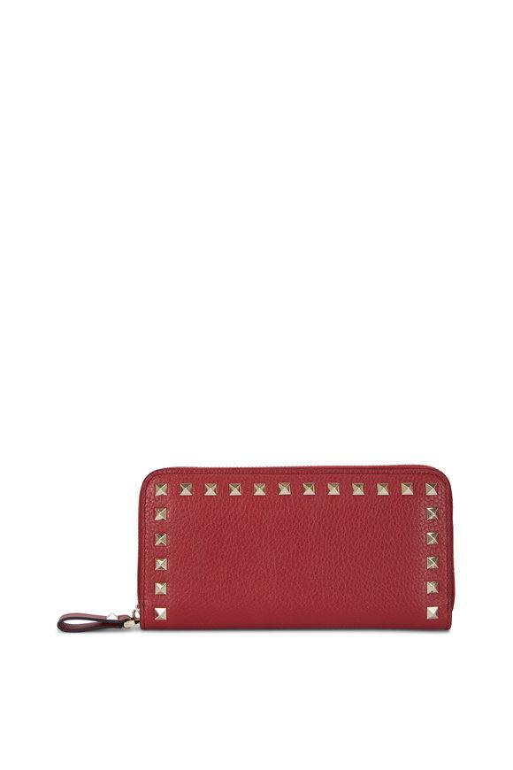 Valentino Garavani Rockstud Rubino Grained Leather Zip-Around Wallet
