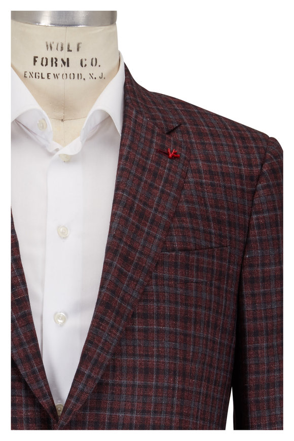 Isaia Gray & Burgundy Check Sportcoat