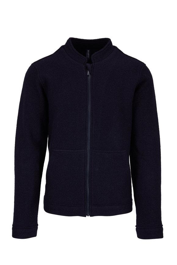 04651/ Navy Wool Front Zip Cardigan