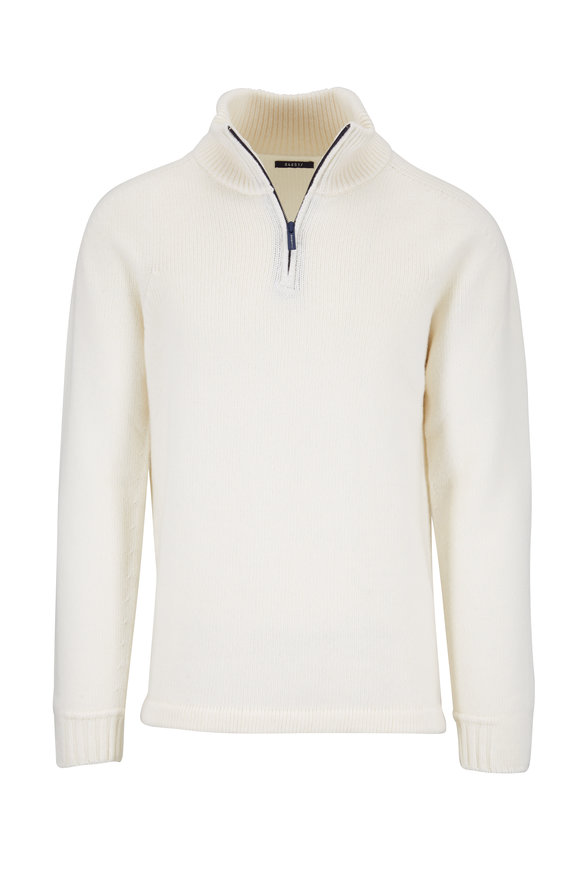 04651 Troyer White Quarter-Zip Pullover