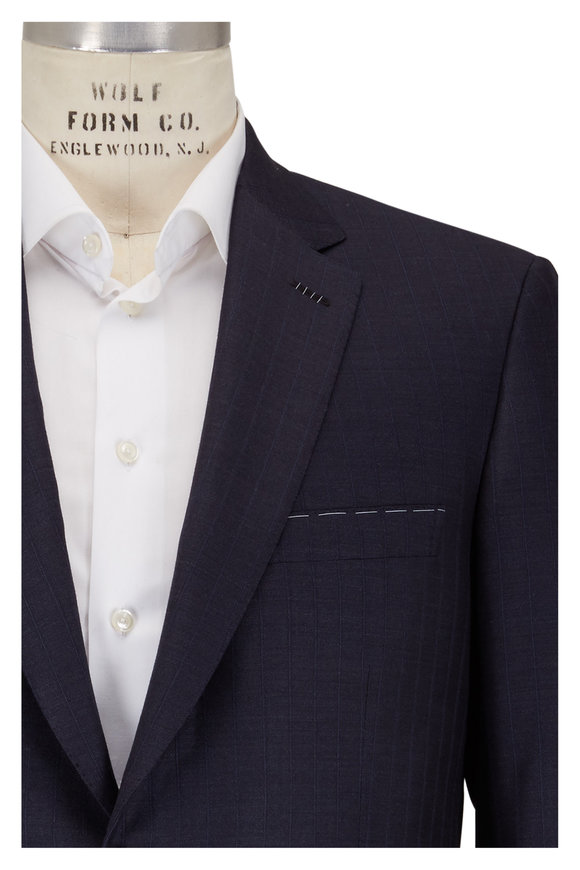 Brioni Navy Blue Tonal Striped Wool Suit