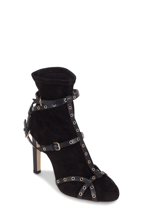 Jimmy Choo Brianna Black Stretch Suede Ankle Boot, 100mm