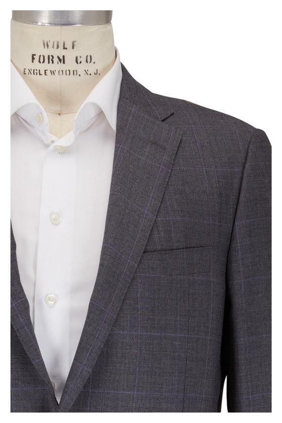 Hickey Freeman Gray Plaid Wool Suit