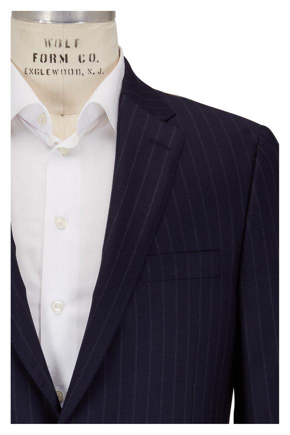 Hickey Freeman Navy Chalk Stripe Wool & Cashmere Suit