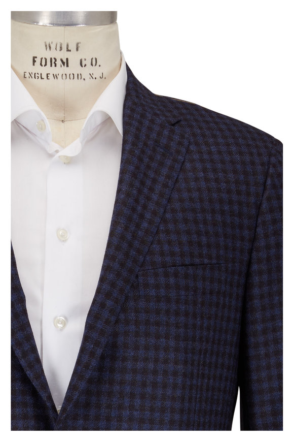 Hickey Freeman Navy & Gray Check Wool & Cashmere Sportcoat