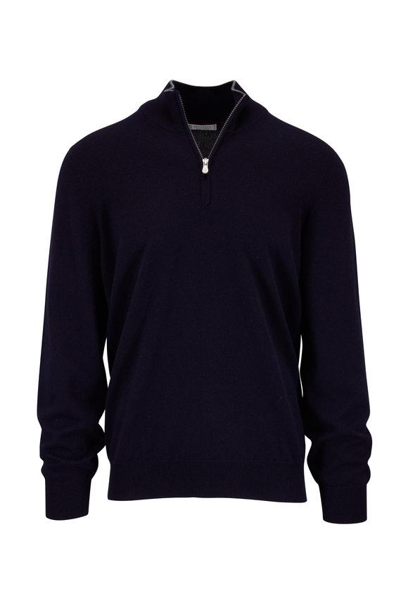 Navy Cashmere Quarter-Zip Pullover