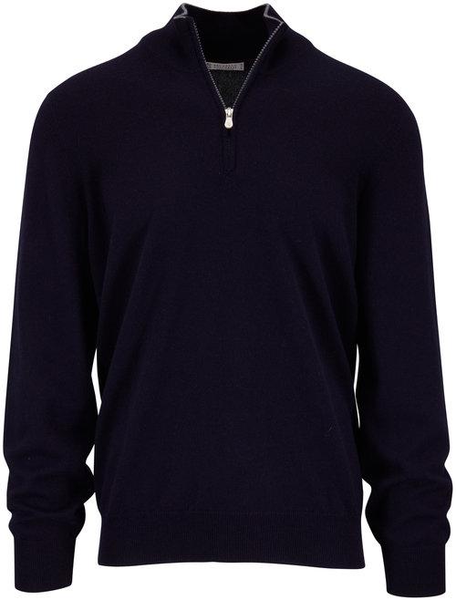 Brunello Cucinelli Navy Cashmere Quarter-Zip Pullover