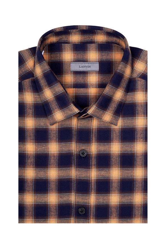 Lanvin Orange, Blue & Brown Plaid Sport Shirt