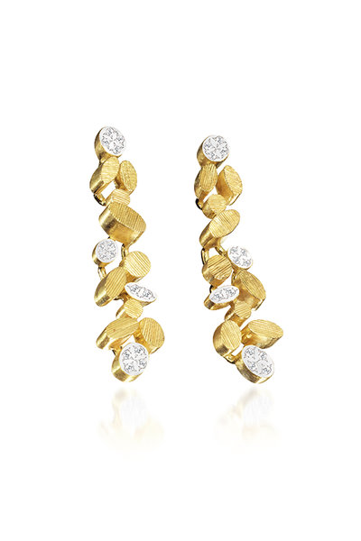 Luisa Rosas - 18K Yellow Gold Petal Diamond Dangle Earrings