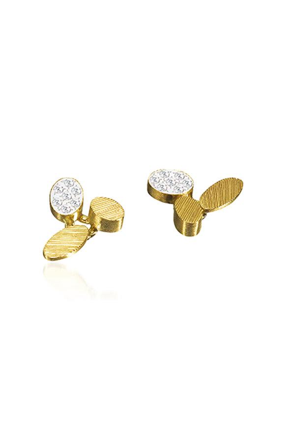 Luisa Rosas 18K Yellow Gold Triple Petal Diamond Earrings
