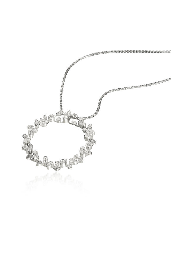 Luisa Rosas 18K White Gold Circle Diamond Pendant Necklace