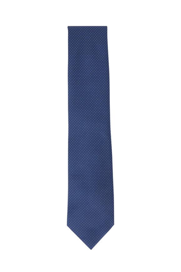 Brioni Blue Geometric Dot Silk Tie