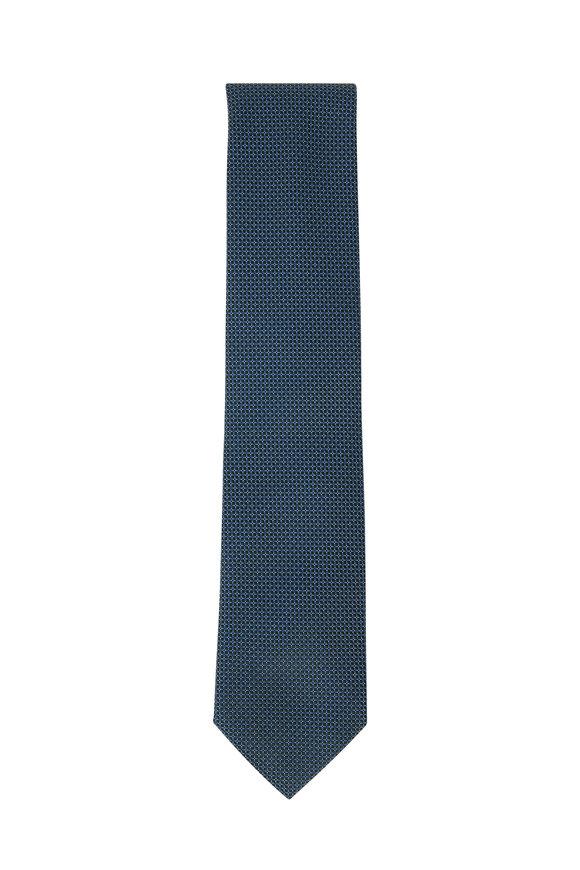 Brioni Green Geometric Dot Silk Necktie