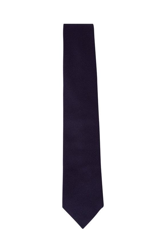 Bigi Rio Navy Blue Solid Silk Necktie