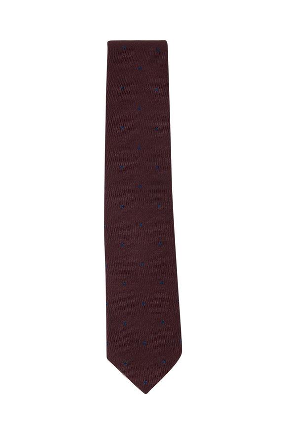 Bigi Taro Wine Dot Silk Necktie