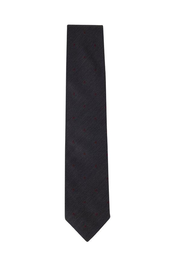 Bigi Taro Gray Dot Silk Necktie