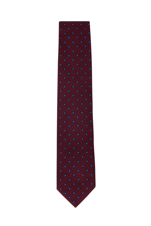 Bigi Senna Red & Blue Dot Silk Necktie