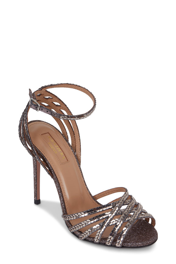 Aquazzura Studio Twilight Metallic Sequin Sandal, 105mm