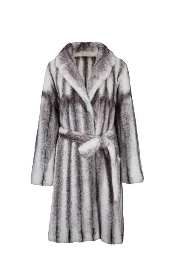 Oscar de la Renta Furs Black Cross Mink A-Line Coat