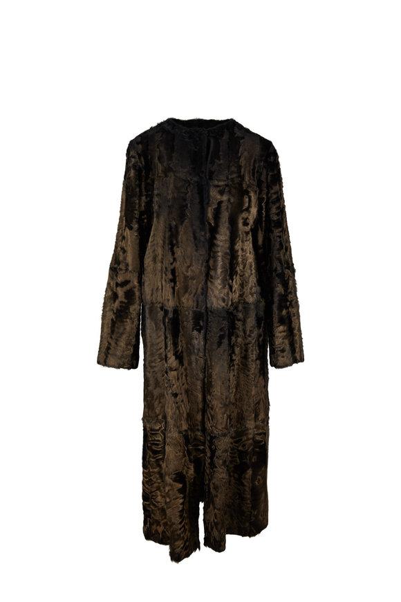 Oscar de la Renta Furs Bronze Lamb Swing Coat