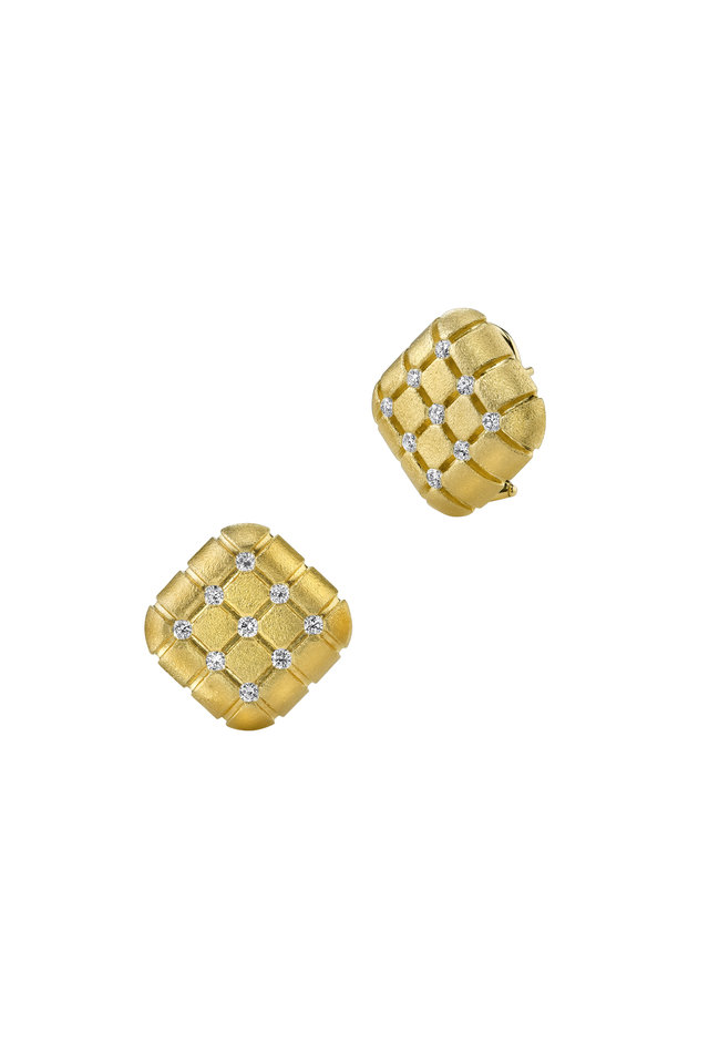 Yellow Gold Square Pillow Diamond Earrings