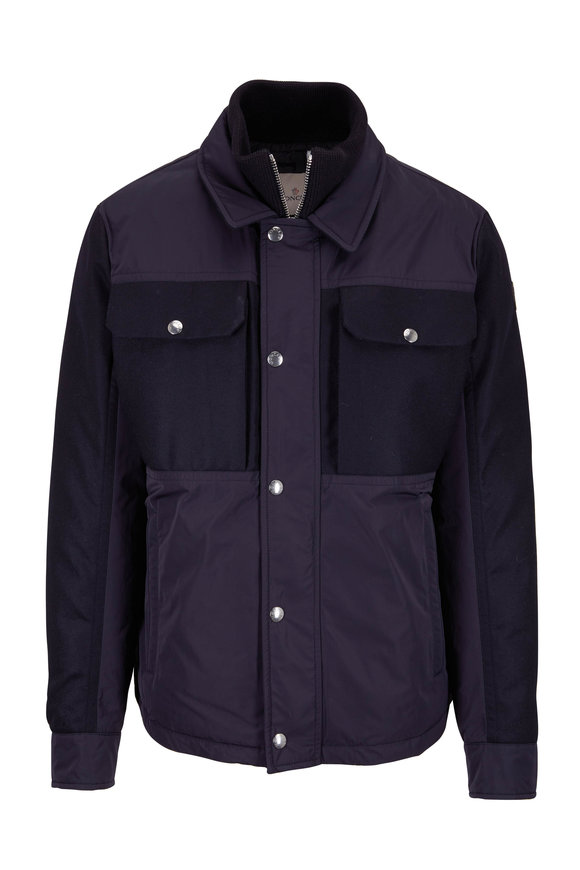 Moncler Beaufort Navy Mixed Media Down Jacket