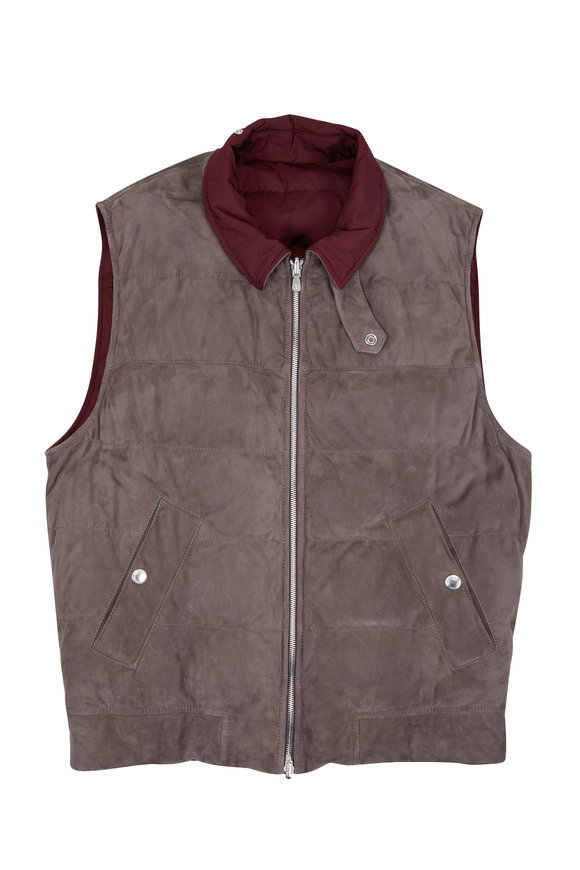Brunello Cucinelli Burgundy & Gray Suede Reversible Vest