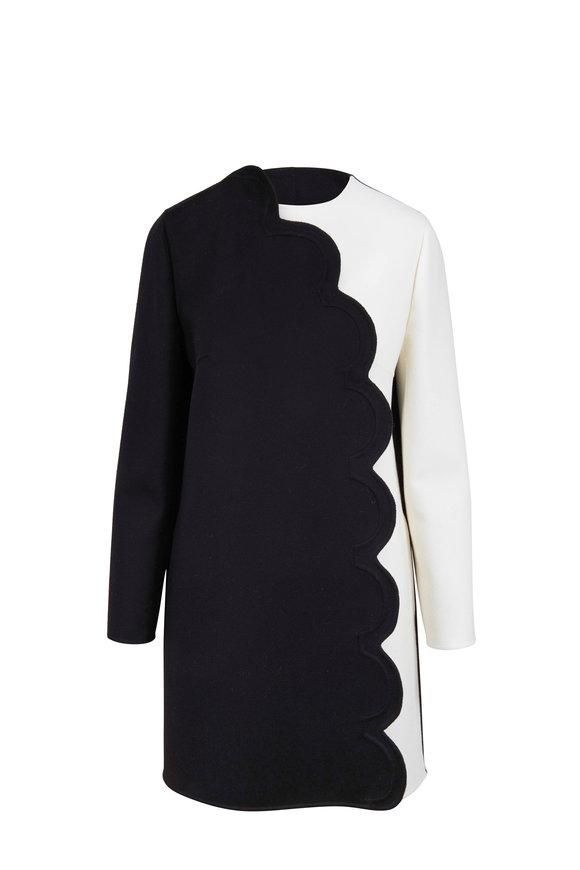 Valentino Black & White Bi-Color Scallop Detail Coat