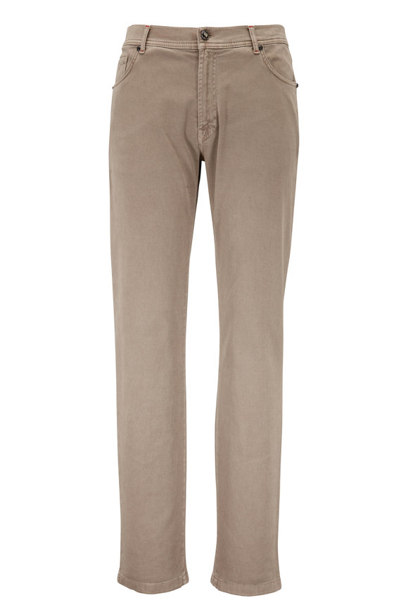 Marco Pescarolo Neranom Taupe Stretch Cotton Five Pocket Pant