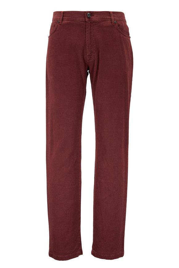 Marco Pescarolo Neranom Burgundy Stretch Cotton Five Pocket Pant