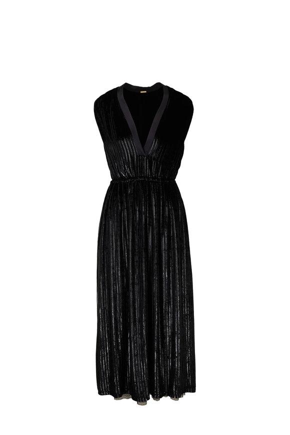 Adam Lippes Black Velvet Deep V-Neck Sleevess Dress