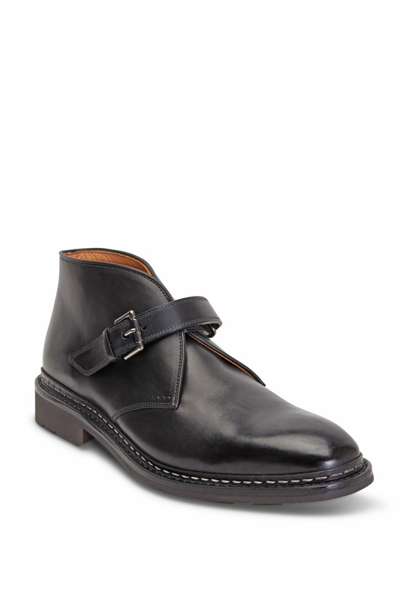 Heschung Chene Black Leather Monk Strap Ankle Boot