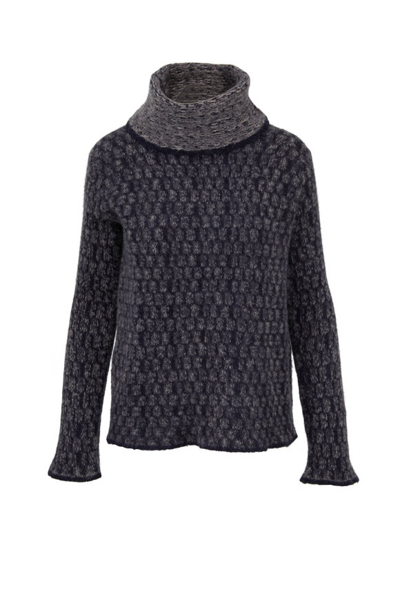 Lainey Keogh Dark Navy Multicolor Chunky Knit Turtleneck