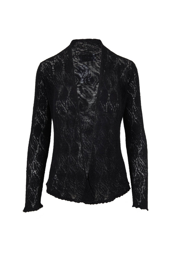 Lainey Keogh Black Cashmere & Silk Open Front Short Cardigan
