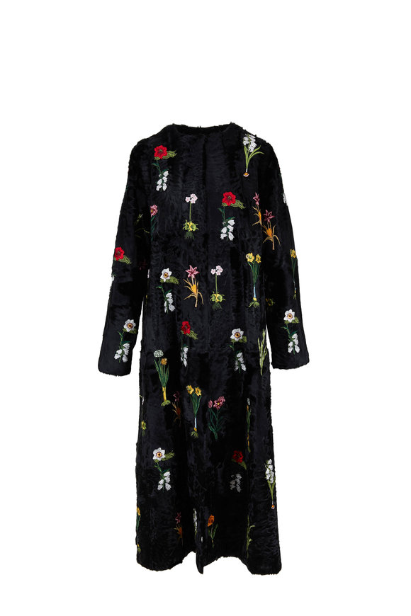 Oscar de la Renta Furs Black Chinese Lamb Floral Embroidered Swing Coat