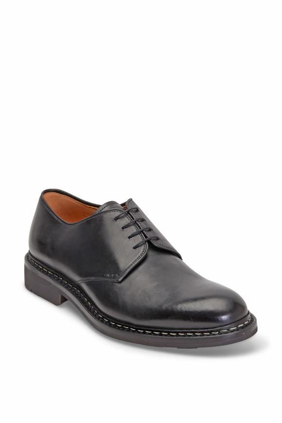Heschung Crocus Black Leather Derby Shoe