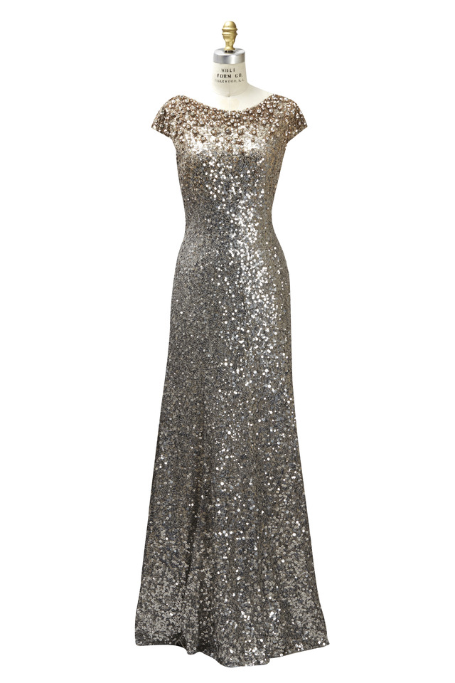 Long Sequin Cap Sleeve Degrade Dress