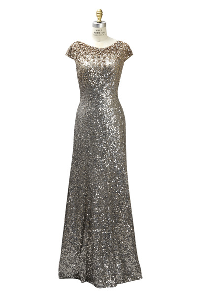 Jenny Packham - Long Sequin Cap Sleeve Degrade Dress