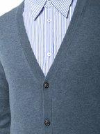 Maison Margiela - Denim Blue Leather Elbow Patch Cardigan