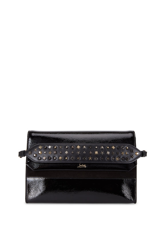 Christian Louboutin Loubiblues Black Patent Leather Spiked Clutch