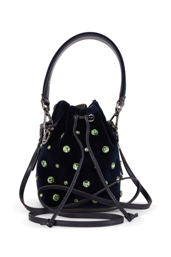 Fendi Mon Tresor Midnight Velour Crystal Mini Bucket Bag