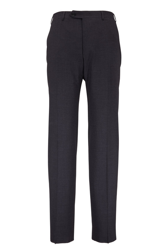 Canali Gray Melange Stretch Wool Pant