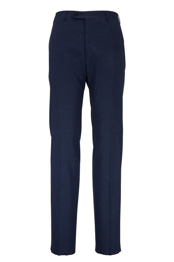 Canali Blue Melange Stretch Wool Pant