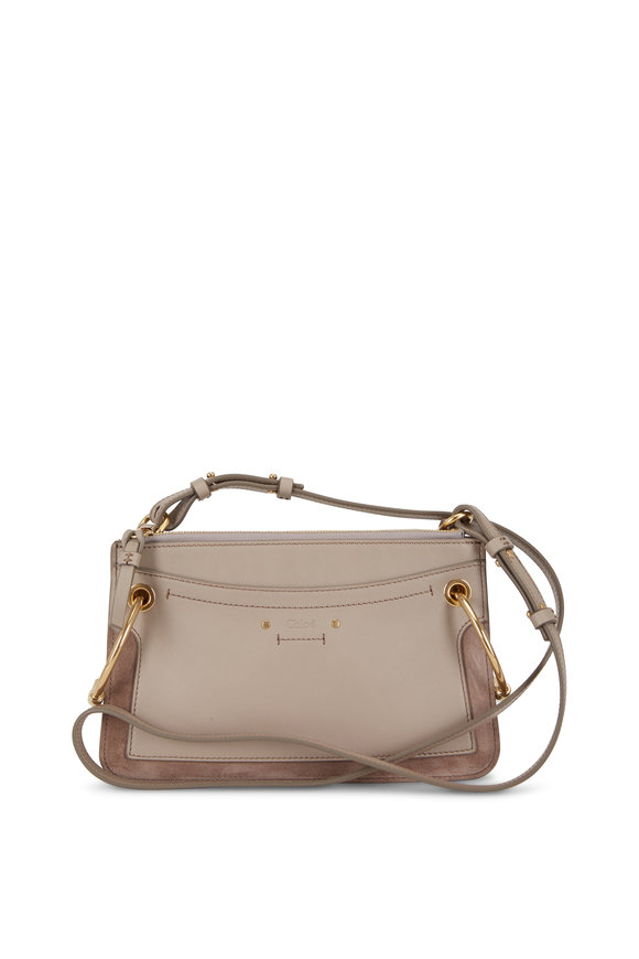 Chloé Roy Motty Gray Leather & Suede Small Crossbody