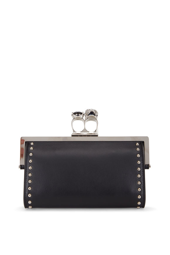Alexander McQueen Black Leather Studded Two-Ring Chain Wallet