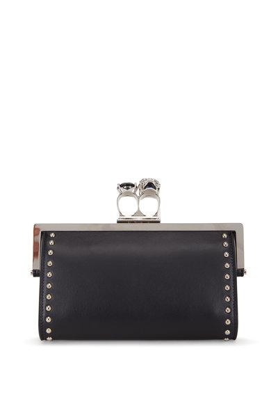 Alexander McQueen - Black Leather Studded Two-Ring Chain Wallet